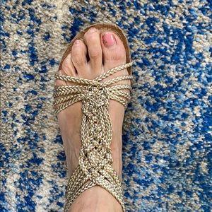 Adam Ticker gold rope sandals
